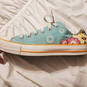 Turquoise Floral Converse
